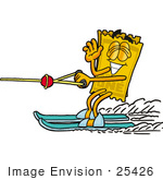 #25426 Clip Art Graphic Of A Golden Admission Ticket Character Waving While Water Skiing