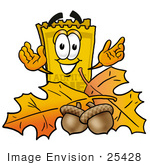 #25428 Clip Art Graphic Of A Golden Admission Ticket Character With Autumn Leaves And Acorns In The Fall