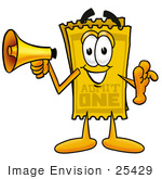 #25429 Clip Art Graphic Of A Golden Admission Ticket Character Holding A Megaphone