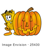 #25430 Clip Art Graphic Of A Golden Admission Ticket Character With A Carved Halloween Pumpkin