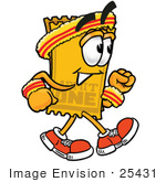 #25431 Clip Art Graphic Of A Golden Admission Ticket Character Speed Walking Or Jogging