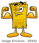 #25432 Clip Art Graphic Of A Golden Admission Ticket Character Flexing His Arm Muscles