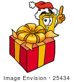 #25434 Clip Art Graphic Of A Golden Admission Ticket Character Standing By A Christmas Present