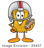 #25437 Clip Art Graphic Of A Golden Admission Ticket Character In A Helmet Holding A Football