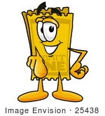 #25438 Clip Art Graphic Of A Golden Admission Ticket Character Pointing At The Viewer