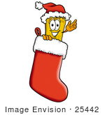 #25442 Clip Art Graphic Of A Golden Admission Ticket Character Wearing A Santa Hat Inside A Red Christmas Stocking
