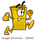 #25443 Clip Art Graphic Of A Golden Admission Ticket Character Running