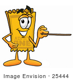 #25444 Clip Art Graphic Of A Golden Admission Ticket Character Holding A Pointer Stick