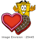 #25445 Clip Art Graphic Of A Golden Admission Ticket Character With An Open Box Of Valentines Day Chocolate Candies
