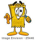 #25446 Clip Art Graphic Of A Golden Admission Ticket Character Looking Through A Magnifying Glass