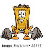 #25447 Clip Art Graphic Of A Golden Admission Ticket Character Lifting A Heavy Barbell