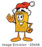 #25448 Clip Art Graphic Of A Golden Admission Ticket Character Wearing A Santa Hat And Waving
