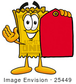 #25449 Clip Art Graphic Of A Golden Admission Ticket Character Holding A Red Sales Price Tag