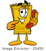 #25450 Clip Art Graphic Of A Golden Admission Ticket Character Holding A Telephone