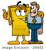 #25452 Clip Art Graphic Of A Golden Admission Ticket Character Talking To A Business Man