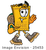 #25453 Clip Art Graphic Of A Golden Admission Ticket Character Hiking And Carrying A Backpack