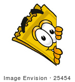#25454 Clip Art Graphic Of A Golden Admission Ticket Character Peeking Around A Corner