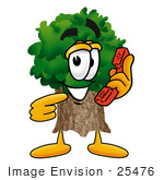 #25476 Clip Art Graphic Of A Tree Character Holding A Telephone