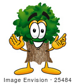 #25484 Clip Art Graphic Of A Tree Character With Welcoming Open Arms