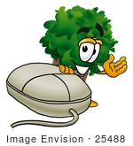 #25488 Clip Art Graphic Of A Tree Character With A Computer Mouse