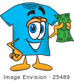 #25489 Clip Art Graphic of a Blue Short Sleeved T Shirt Character Holding a Dollar Bill by toons4biz