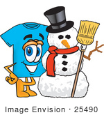 #25490 Clip Art Graphic Of A Blue Short Sleeved T Shirt Character With A Snowman On Christmas