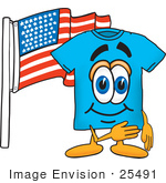 #25491 Clip Art Graphic Of A Blue Short Sleeved T Shirt Character Pledging Allegiance To An American Flag
