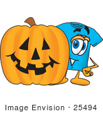 #25494 Clip Art Graphic Of A Blue Short Sleeved T Shirt Character With A Carved Halloween Pumpkin
