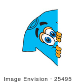 #25495 Clip Art Graphic Of A Blue Short Sleeved T Shirt Character Peeking Around A Corner