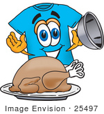 #25497 Clip Art Graphic Of A Blue Short Sleeved T Shirt Character Serving A Thanksgiving Turkey On A Platter