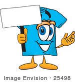 #25498 Clip Art Graphic Of A Blue Short Sleeved T Shirt Character Holding A Blank Sign