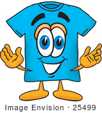 #25499 Clip Art Graphic Of A Blue Short Sleeved T Shirt Character With Welcoming Open Arms