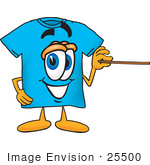 #25500 Clip Art Graphic Of A Blue Short Sleeved T Shirt Character Holding A Pointer Stick