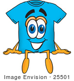 #25501 Clip Art Graphic Of A Blue Short Sleeved T Shirt Character Sitting