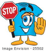 #25502 Clip Art Graphic Of A Blue Short Sleeved T Shirt Character Holding A Stop Sign
