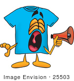 #25503 Clip Art Graphic Of A Blue Short Sleeved T Shirt Character Screaming Into A Megaphone