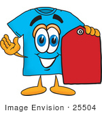 #25504 Clip Art Graphic Of A Blue Short Sleeved T Shirt Character Holding A Red Sales Price Tag
