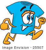 #25507 Clip Art Graphic Of A Blue Short Sleeved T Shirt Character Running