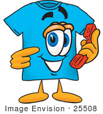 #25508 Clip Art Graphic Of A Blue Short Sleeved T Shirt Character Holding A Telephone