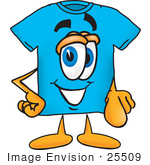 #25509 Clip Art Graphic Of A Blue Short Sleeved T Shirt Character Pointing At The Viewer