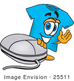#25511 Clip Art Graphic Of A Blue Short Sleeved T Shirt Character With A Computer Mouse