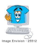 #25512 Clip Art Graphic Of A Blue Short Sleeved T Shirt Character Waving From Inside A Computer Screen