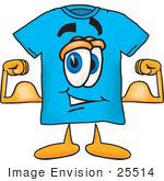 #25514 Clip Art Graphic Of A Blue Short Sleeved T Shirt Character Flexing His Arm Muscles