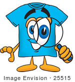 #25515 Clip Art Graphic Of A Blue Short Sleeved T Shirt Character Looking Through A Magnifying Glass