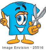#25516 Clip Art Graphic Of A Blue Short Sleeved T Shirt Character Holding A Pair Of Scissors
