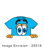#25518 Clip Art Graphic Of A Blue Short Sleeved T Shirt Character Peeking Over A Surface
