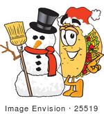 #25519 Clip Art Graphic Of A Crunchy Hard Taco Character With A Snowman On Christmas