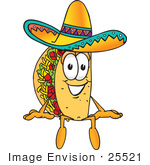 #25521 Clip Art Graphic Of A Crunchy Hard Taco Character Sitting And Wearing A Sombrero