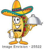 #25522 Clip Art Graphic Of A Crunchy Hard Taco Character Wearing A Sombrero Waiting Tables And Serving A Platter
