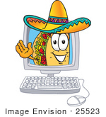 #25523 Clip Art Graphic of a Crunchy Hard Taco Character Waving From Inside a Computer Screen by toons4biz